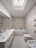 Design bathroom in modern home. Nobody inside