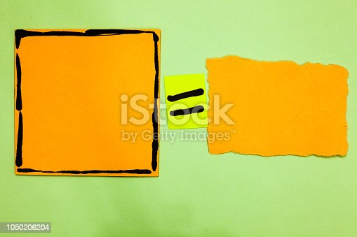 istock Design business concept Business ad for website promotion banners empty social media ad Orange paper notes reminders equal sign important messages to remember 1050206204