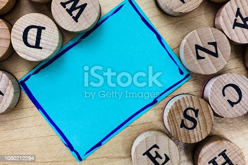Design business concept Empty copy text for Web banners promotional material mock up template. Blank Bordered Notepad Sheet and Alphabet Letter Wooden Rubber Stamp