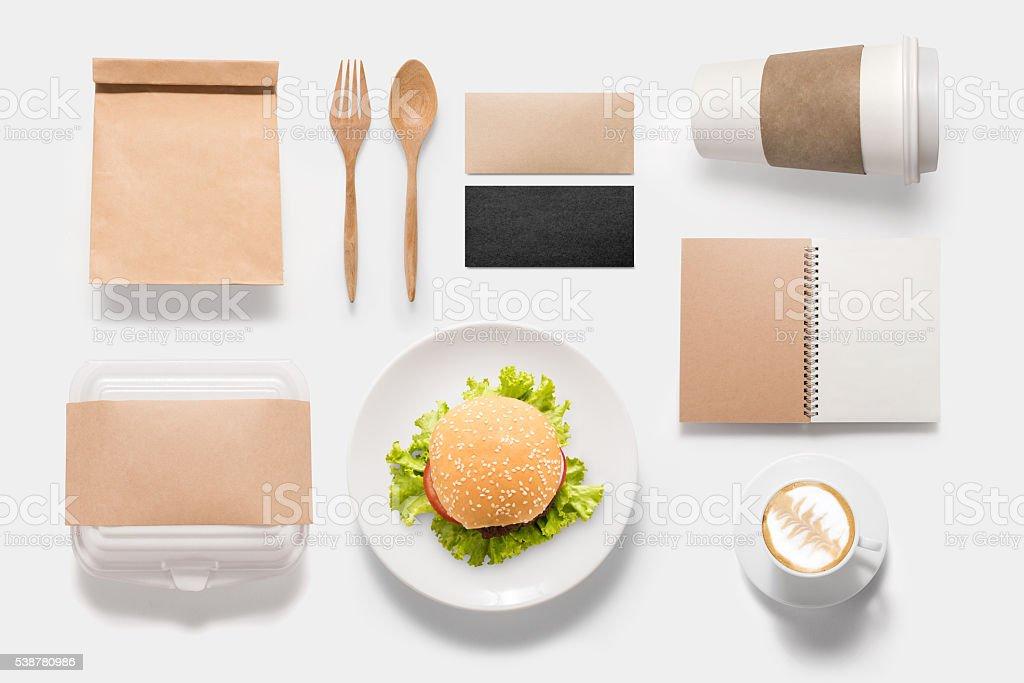 Design concept  brand of mockup burger set isolated - Photo
