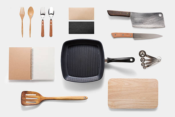 design concept of mockup arious kitchenware utensils set on whit - kookgerei stockfoto's en -beelden