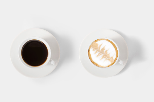 Design concept of mockup assortment coffee set isolated on white background. Clipping Path included on white background.