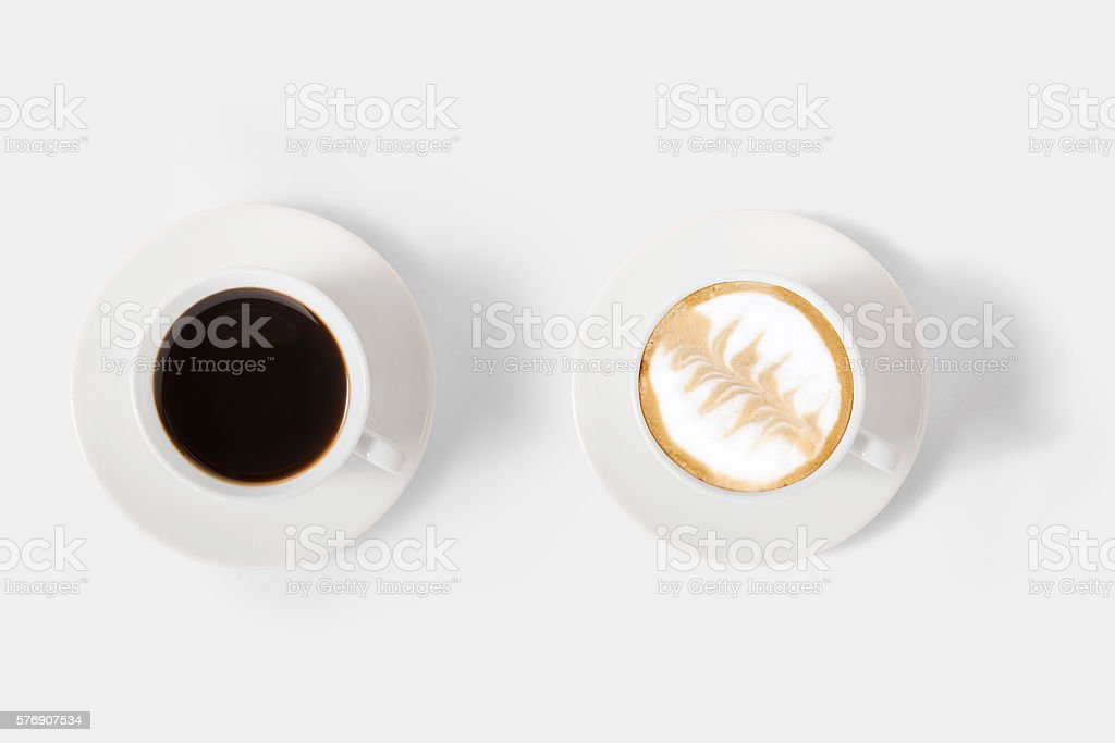 Design concept of mockup assortment coffee set isolated on white stock photo