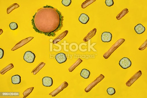 1156991909 istock photo Design concept of mockup burger and french fries set on yellow background 996409494