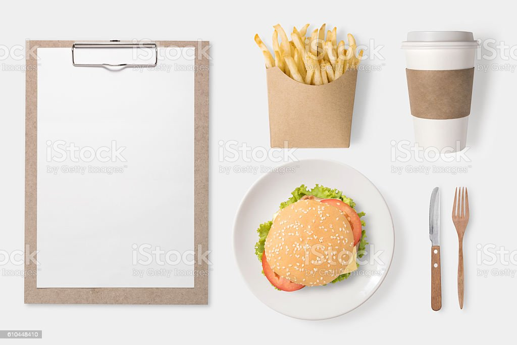 Design concept of mockup burger, french fries, coffee cup. stock photo