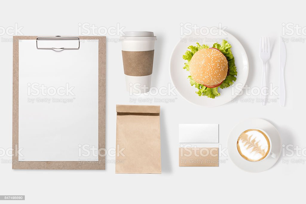 Design concept of mockup burger set and coffee cup set - Photo