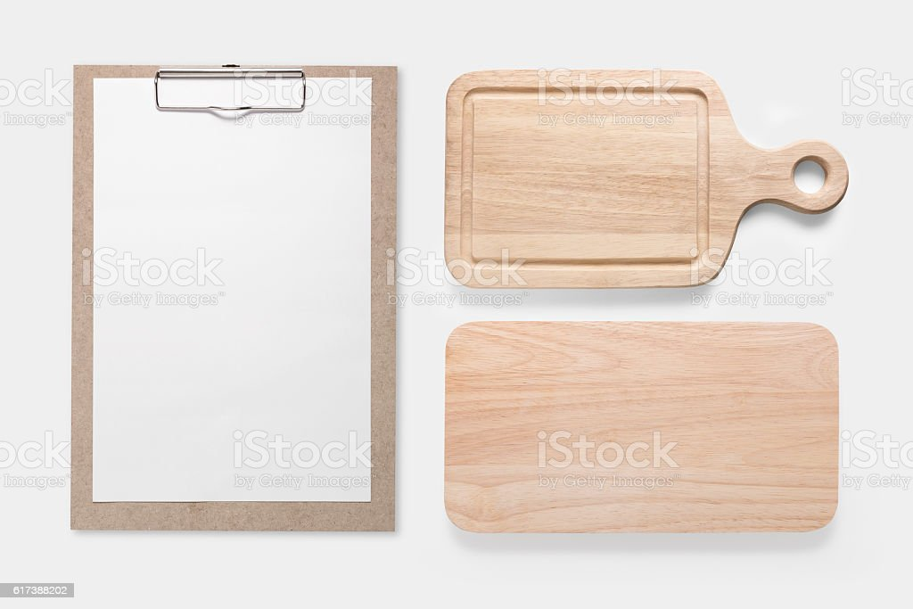 Design concept of mockup clip board and cutting board set. stock photo