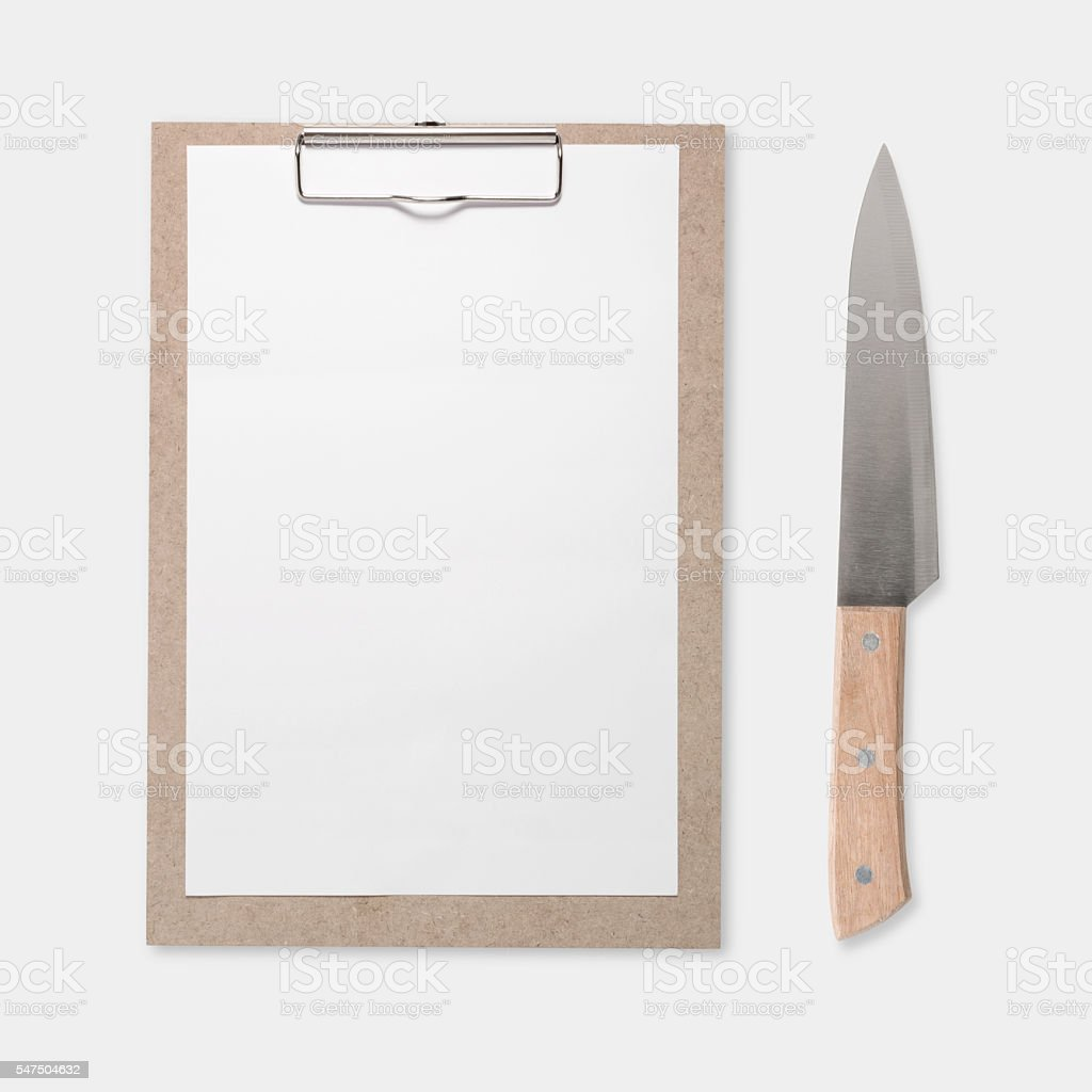 Design concept of mockup clip board and knife set isolated stock photo