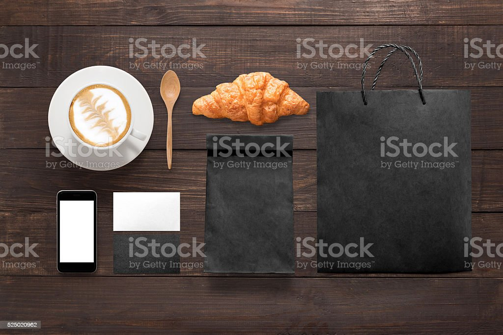 Design concept of mockup coffee break time on wooden table. stock photo