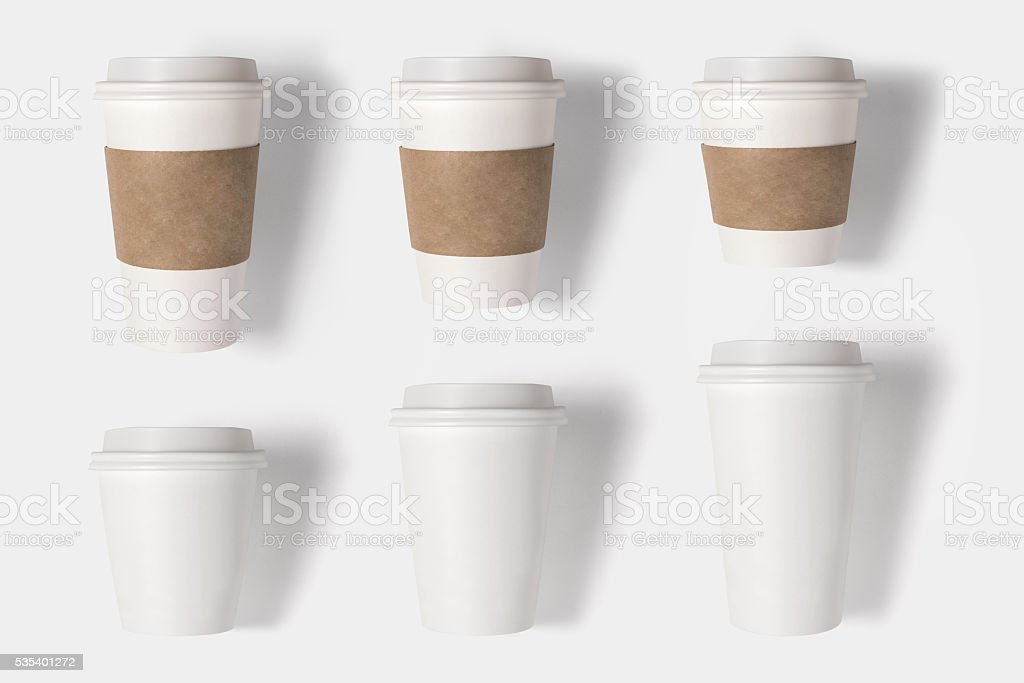Design concept of mockup coffee cup set.  Clipping path. stock photo