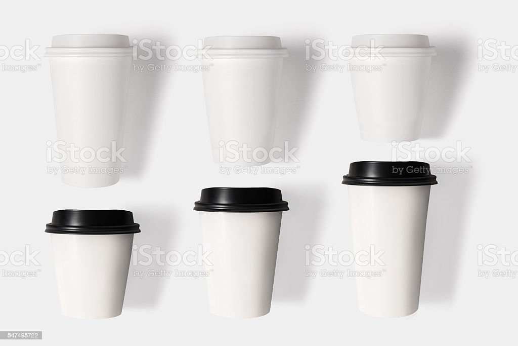 Design concept of mockup coffee cup set isolated on isolated stock photo