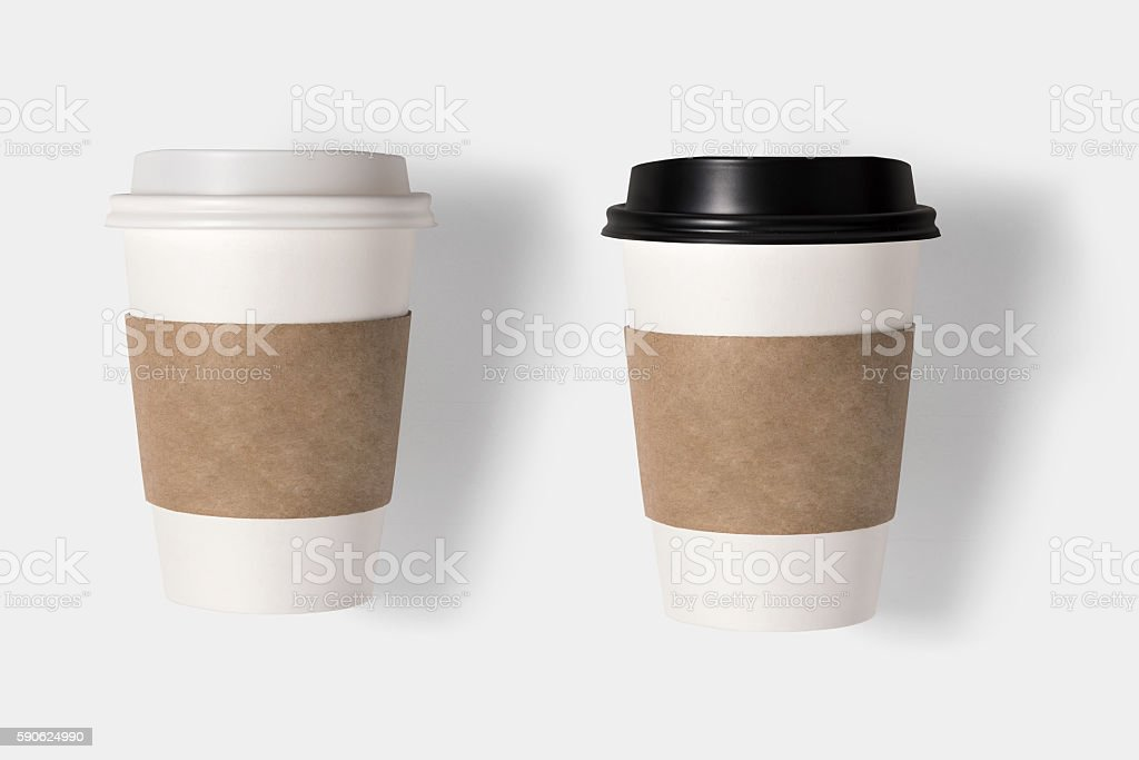 Design concept of mockup coffee cup set  isolated on white stock photo