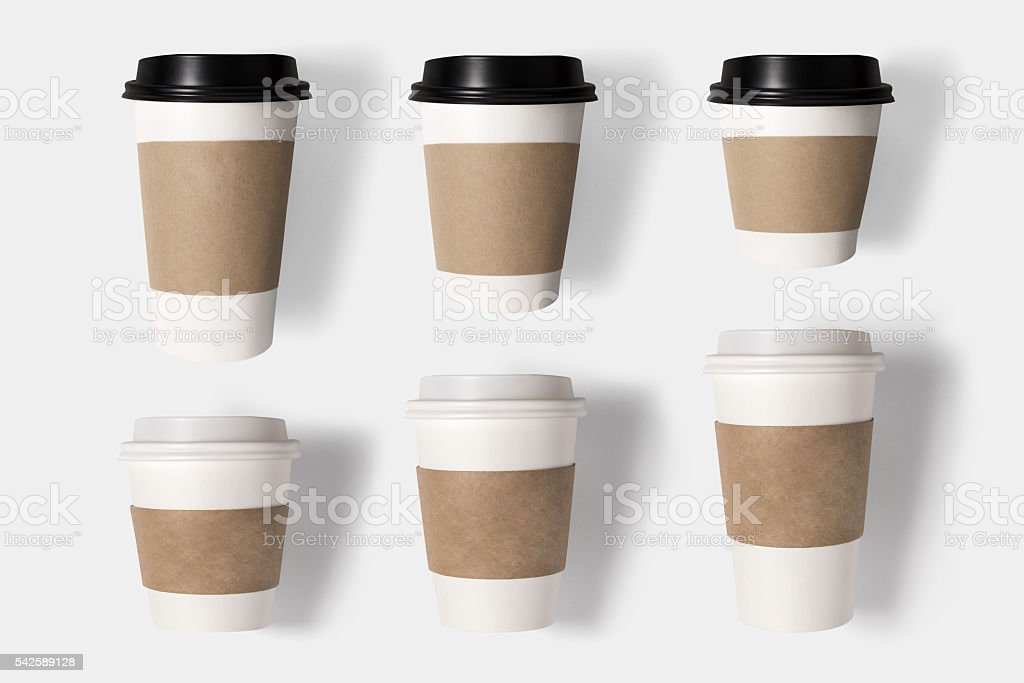 Design concept of mockup coffee cup set on white background. stock photo