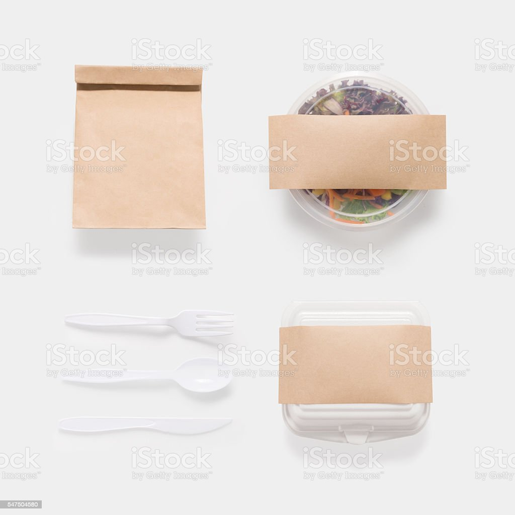 Design concept of mockup salad, bag and container box set stock photo