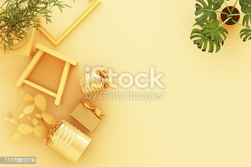 istock Design concept - top view of potted plant, cactus, frame on pastel yellow background. 3d rendering 1177581219