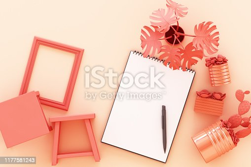 istock Design concept - top view of white A4 flipped paper with black clipboard, potted plant, cactus, frame and pen on pastel orange background. 3d rendering 1177581243