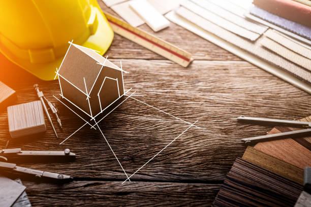 designkoncept med materialprov med sten laminat faner trä blyertspenna och smartphone med gratis kopia utrymme för din kreativitet idéer text - husutbyggnad bildbanksfoton och bilder