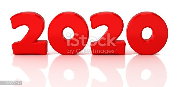 1078018146 istock photo Design concept with red shiny numerals. 3D Illustration. 1202277474