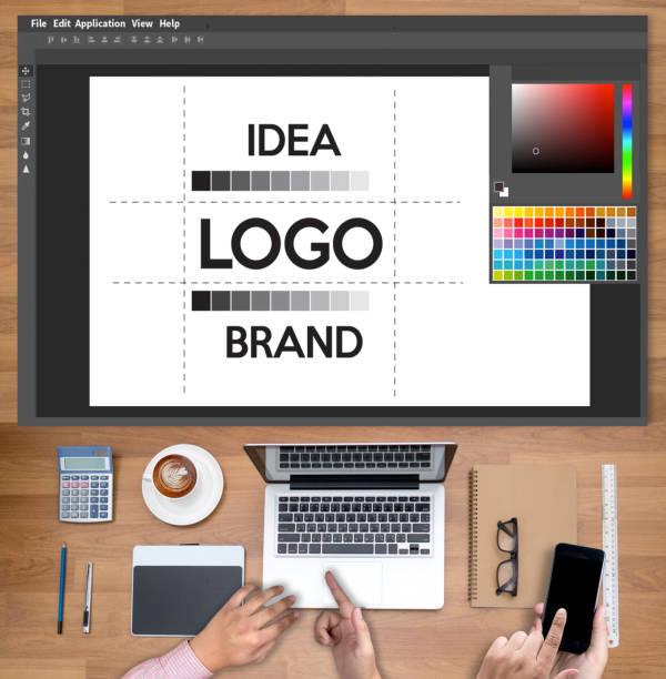 design kreativ kreativität arbeit marke designer skizzieren grafik logo design-business-konzept - logodesign stock-fotos und bilder