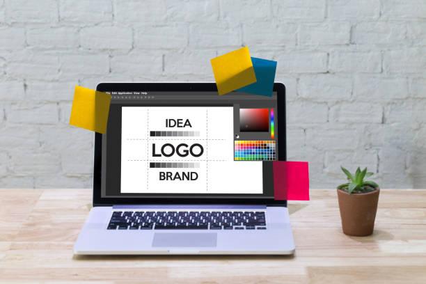 創造的な創造性ワーク ブランド デザイナー スケッチ グラフィック ロゴ デザイン ビジネス コンセプト ストックフォト