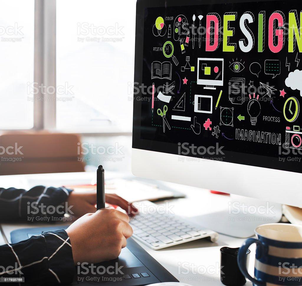 Design Creative Planning Objective Purpose Ideas Concept stock photo