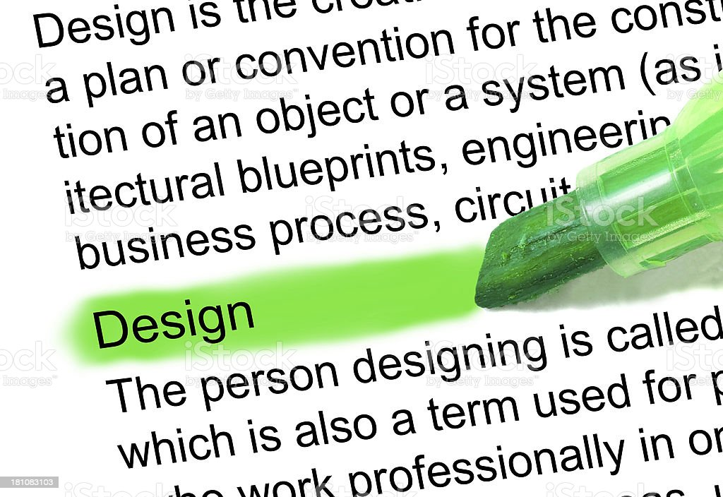 design definition marked in dictionary stock photo