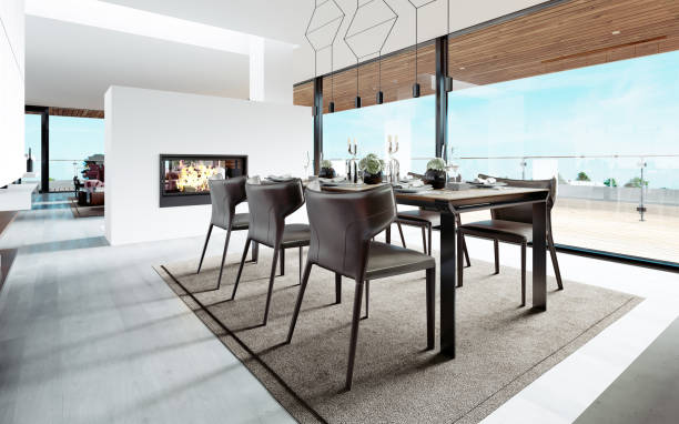 Design dining table set in the kitchen. Contemporary style.