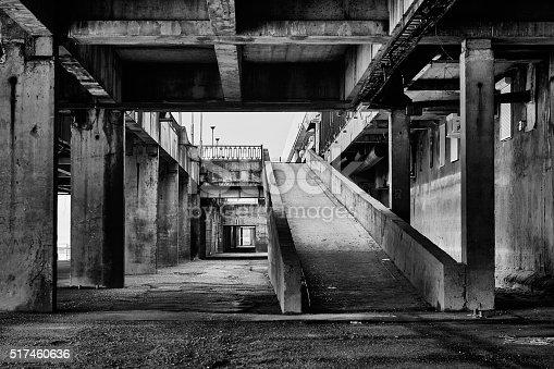design element. black and white industrial interior image