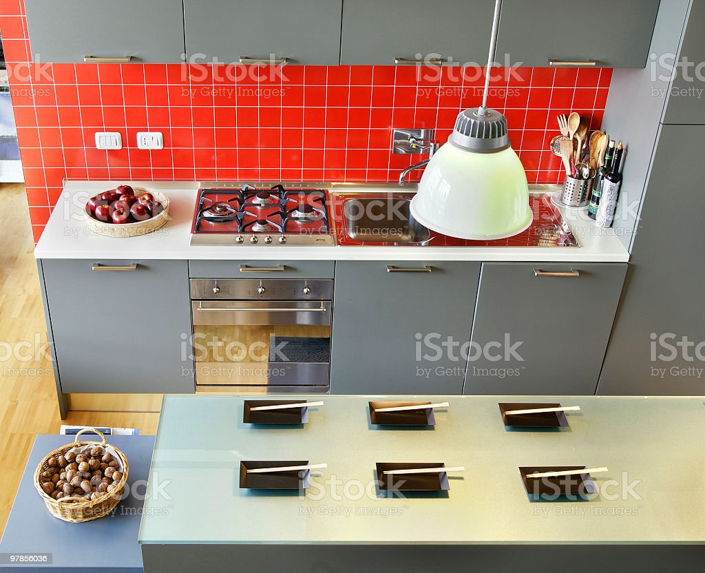 Design Kitchen With Japanese Square Plates On Worktop Island