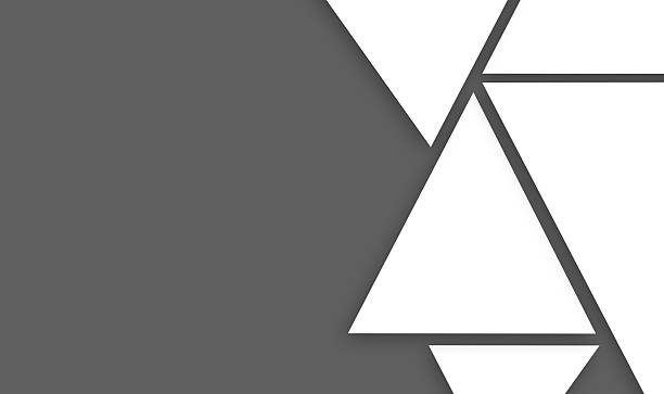 design made of big triangle shapes on gray right sided - triangle shape stock photos and pictures