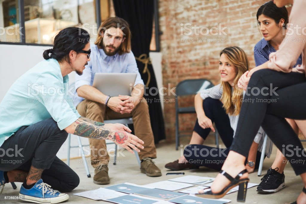 Design meeting startup working on new project. stock photo