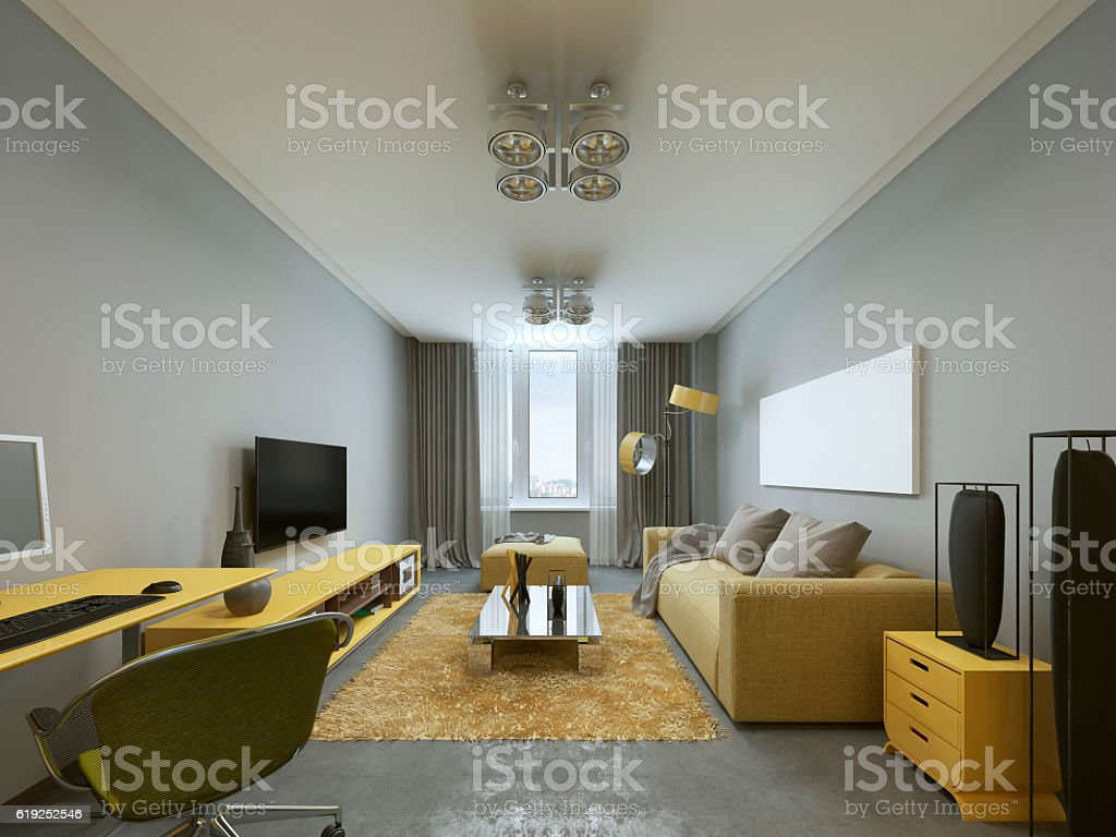 Design Modern Living Room In Grey And Yellow Colors Stock