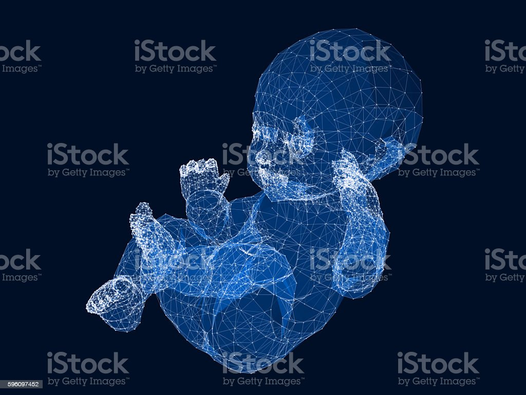 Design of 3d wireframe Baby. royalty-free stock photo