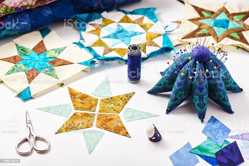 Design of element quilt in progress, prepared cut pieces stock photo