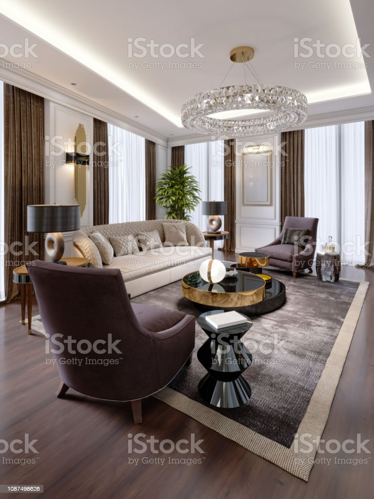 Design of luxury apartments in modern style with designer furniture...