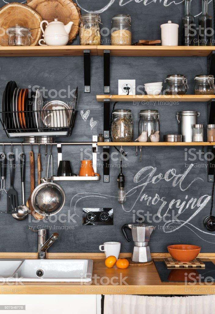 Houten Planken Keuken Muur.Ontwerp Van Moderne Keuken In Loft En Rustieke Stijl Houten Planken