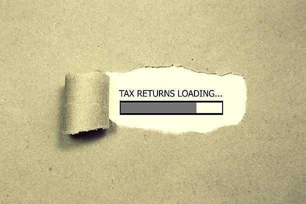 Design of progress bar, tax returns loading stock photo
