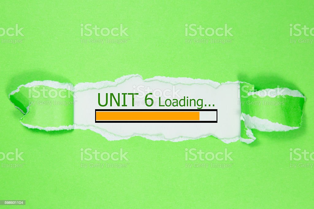 Design of progress bar, unit 6 loading with torn paper stock photo