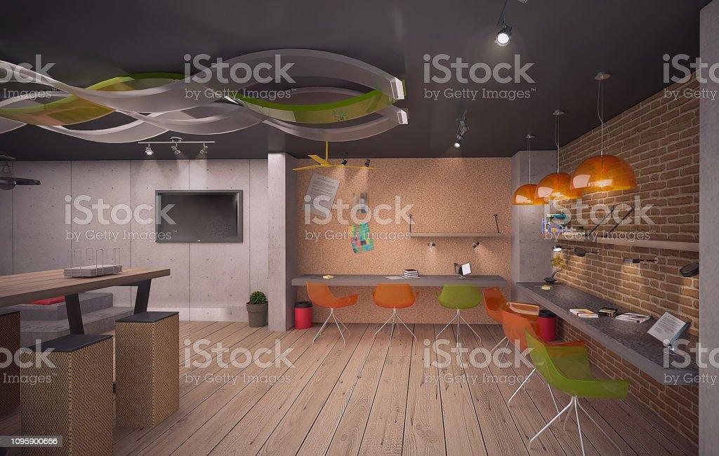 Design Office Kindergarten Render By 3d Software Stock Photo Download Image Now Istock