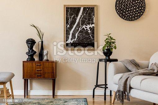 Design scandinavian home interior of living room.Beige wall. Modern home staging. Template. Japandi.