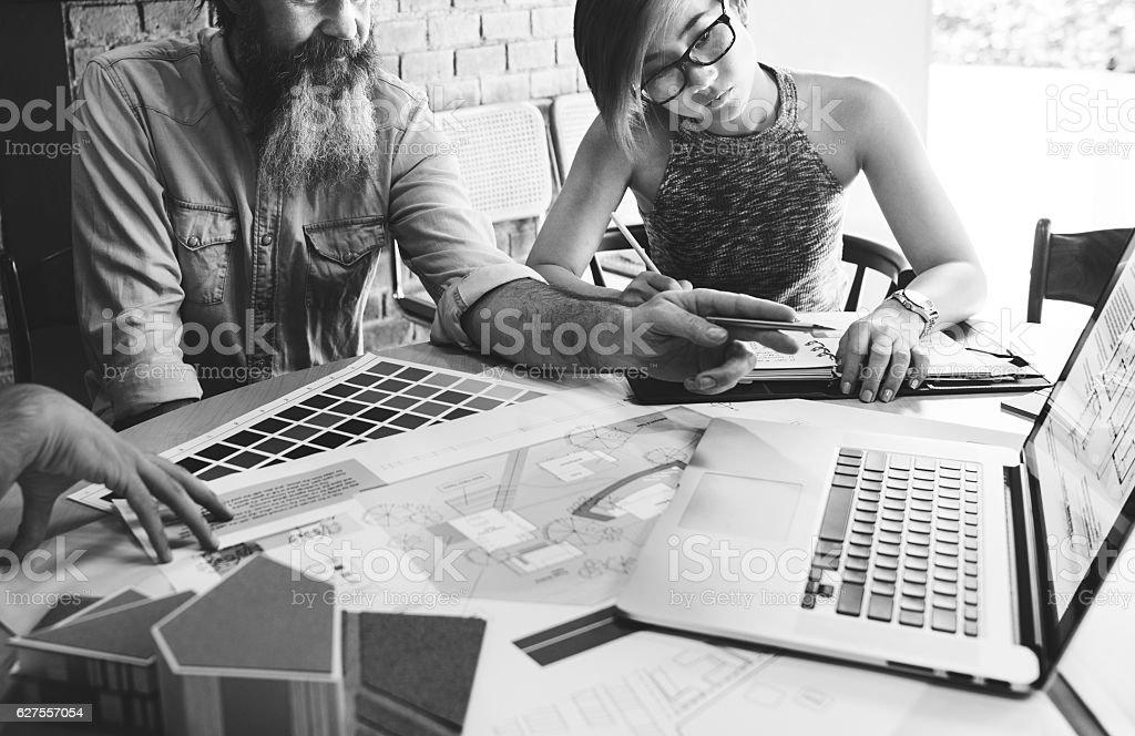 Design Studio Architect Creative Occupation Meeting Blueprint Co stock photo