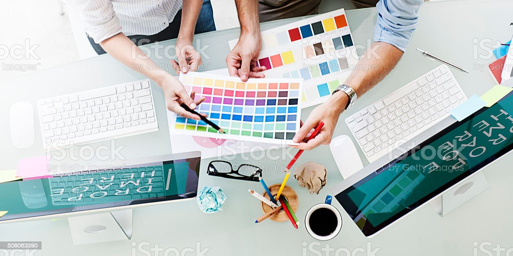 Design Studio Creativity Ideas Teamwork Technology Concept stock photo