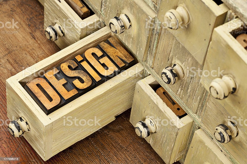 design word - concept in wood type royalty-free stock photo