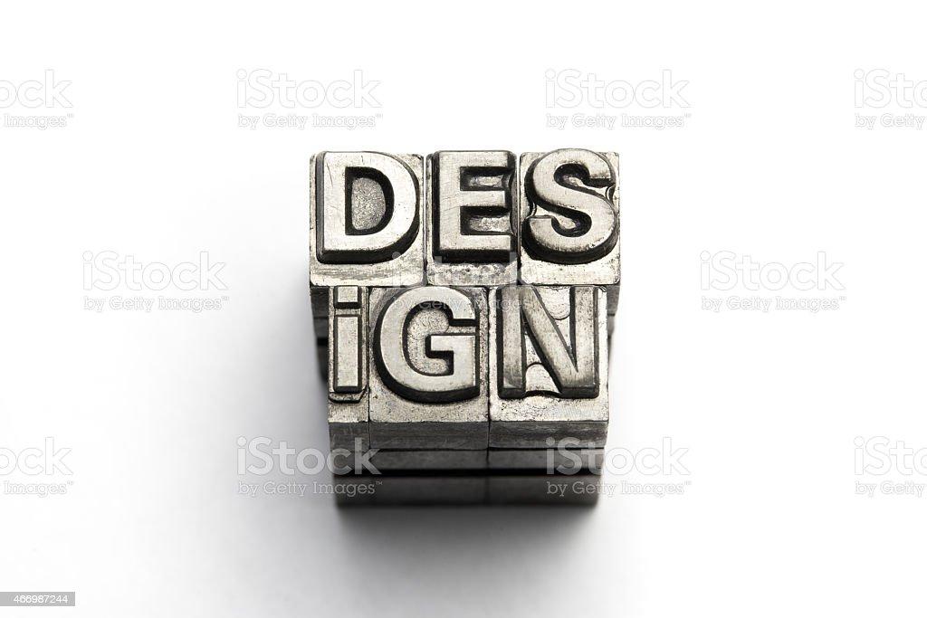 Design word, letterpress block letter stock photo