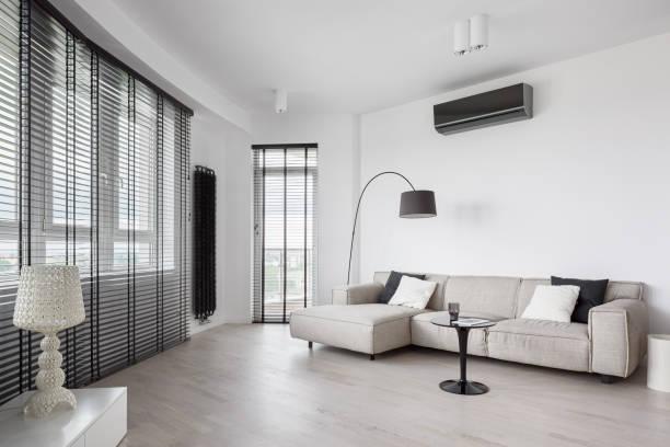 Designed living room interior stock photo