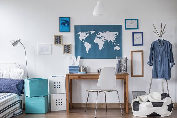 world map on wall stock photos