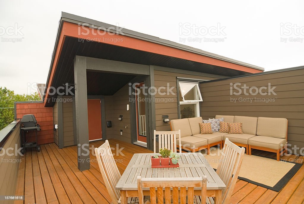 Designer Apartment Rooftop Deck stock photo
