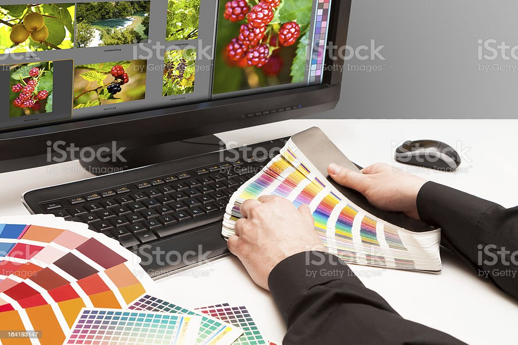 Designer at work. Color samples. royalty-free stock photo