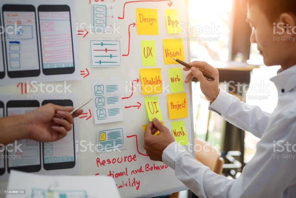 Grupo creativo de UX Designer que trabaja en la planificación de proyectos de aplicaciones móviles con notas adhesivas. Concepto de experiencia de usuario. - Foto de stock de Accesibilidad libre de derechos