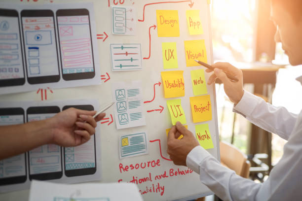 UX designer creative group working about planing mobile application project with sticky notes. User experience concept. stock photo